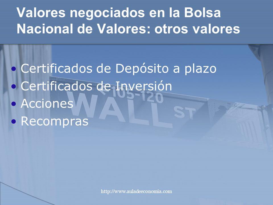 Valores negociados en la Bolsa Nacional de Valores: otros valores