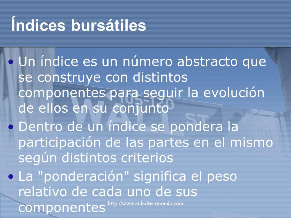 Índices bursátiles Un índice es un número abstracto que se construye con distintos componentes para seguir la evolución de ellos en su conjunto.