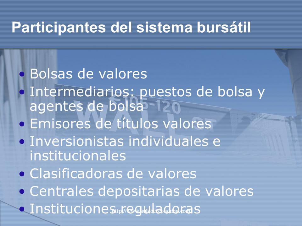Participantes del sistema bursátil
