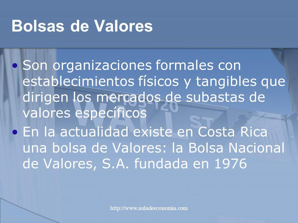 Bolsas de Valores Son organizaciones formales con establecimientos físicos y tangibles que dirigen los mercados de subastas de valores específicos.