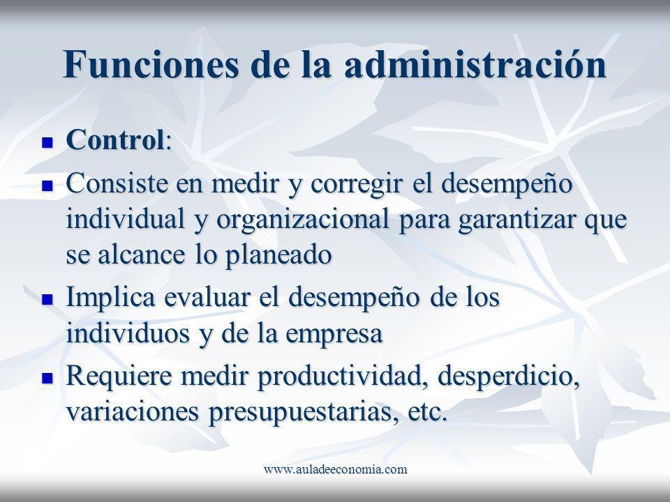 Funciones de la administración