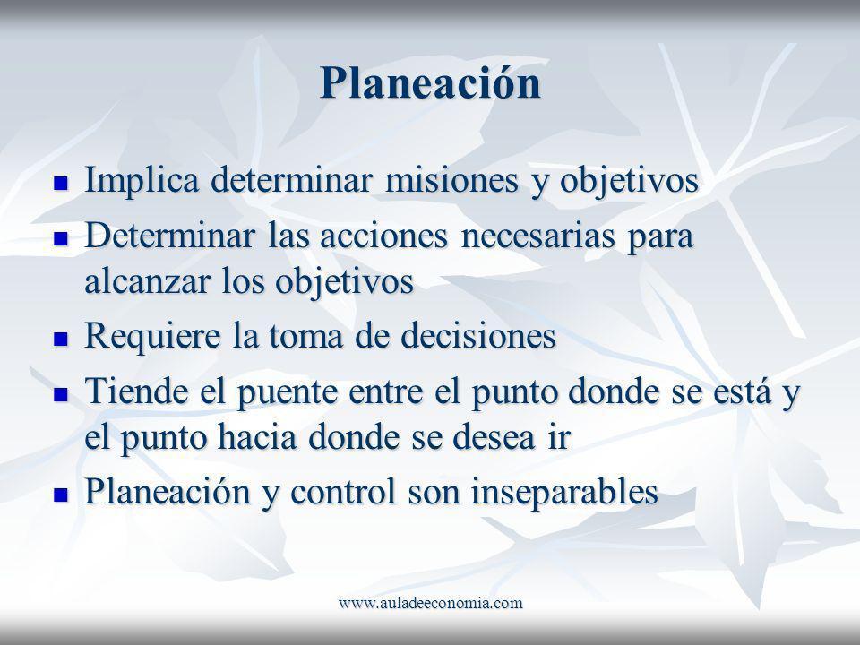 Planeación Implica determinar misiones y objetivos