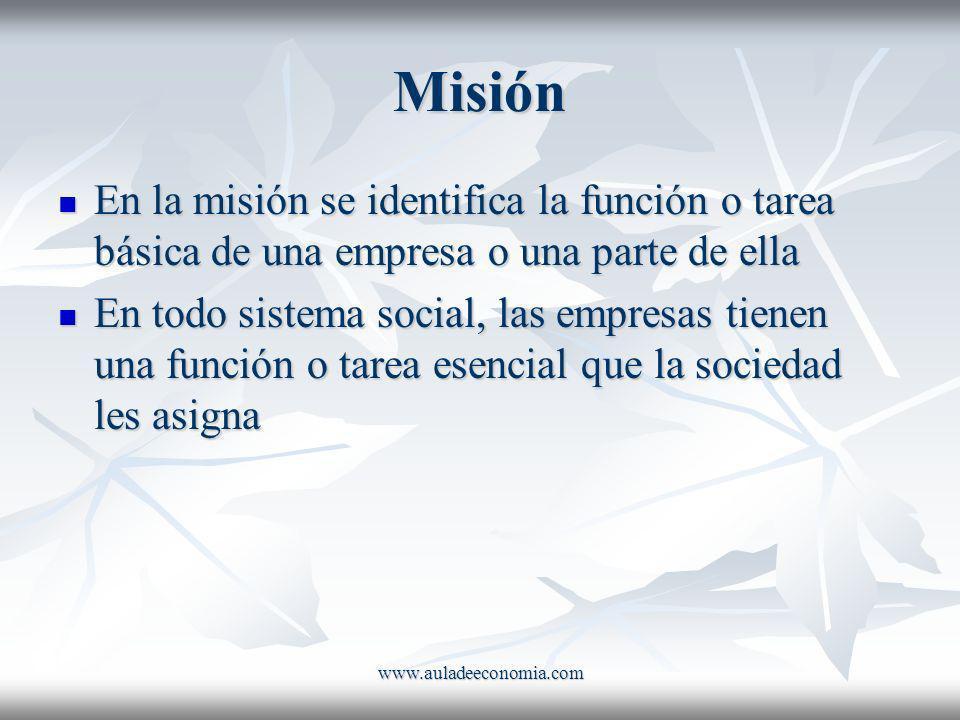 Misión En la misión se identifica la función o tarea básica de una empresa o una parte de ella.