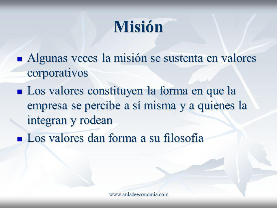 Misión Algunas veces la misión se sustenta en valores corporativos