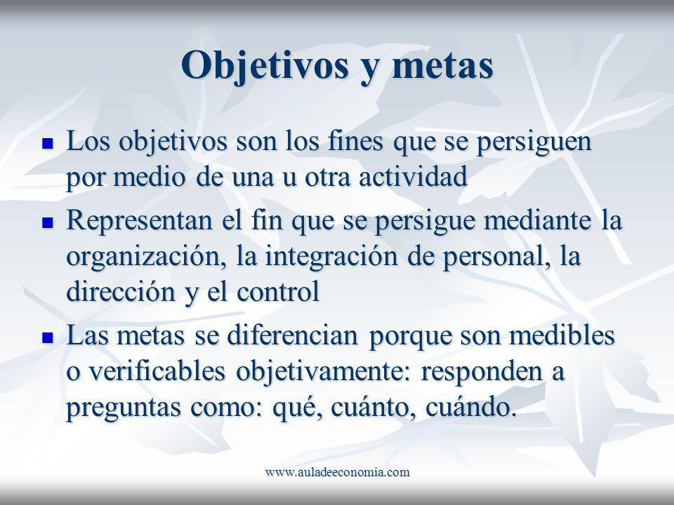 Objetivos y metas Los objetivos son los fines que se persiguen por medio de una u otra actividad.