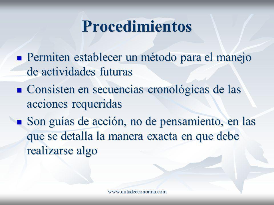 Procedimientos Permiten establecer un método para el manejo de actividades futuras. Consisten en secuencias cronológicas de las acciones requeridas.