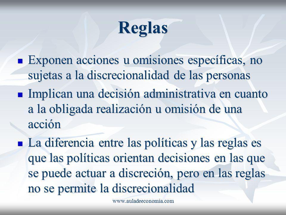 Reglas Exponen acciones u omisiones específicas, no sujetas a la discrecionalidad de las personas.