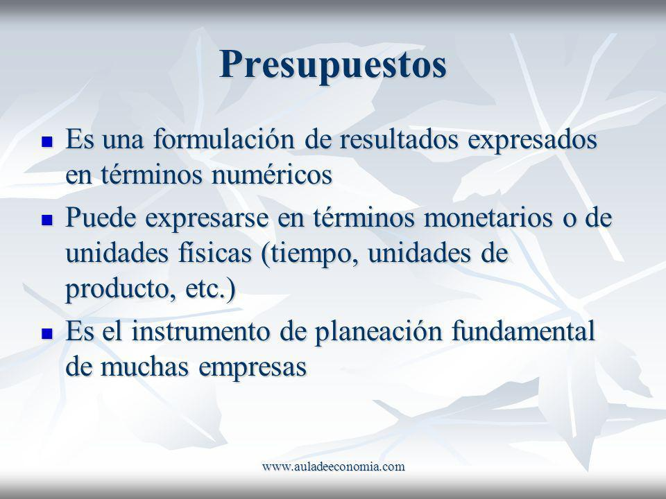 Presupuestos Es una formulación de resultados expresados en términos numéricos.