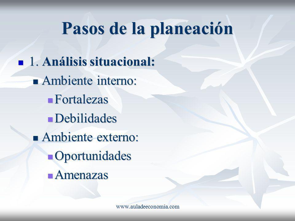 Pasos de la planeación 1. Análisis situacional: Ambiente interno: