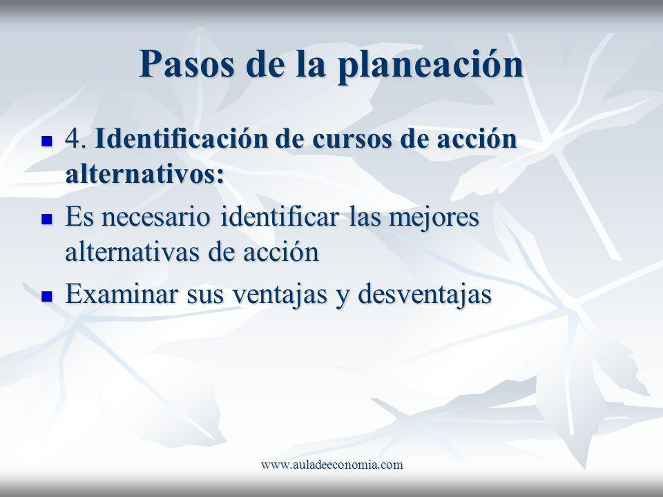 Pasos de la planeación 4. Identificación de cursos de acción alternativos: Es necesario identificar las mejores alternativas de acción.