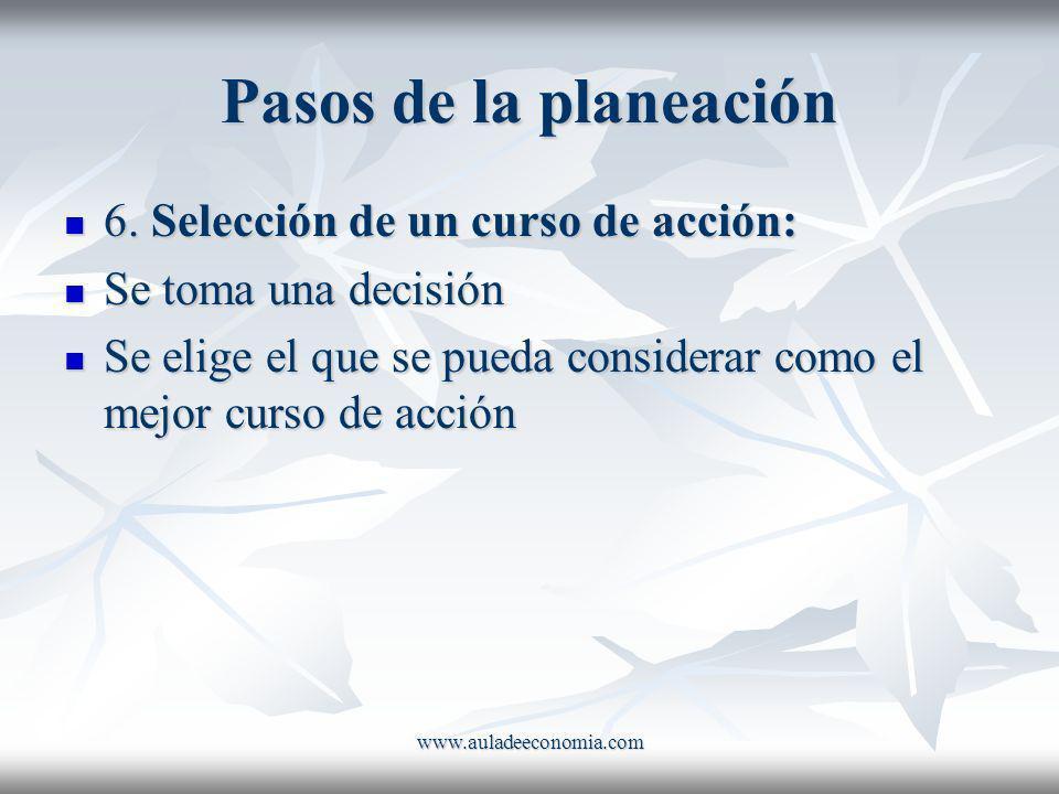 Pasos de la planeación 6. Selección de un curso de acción: