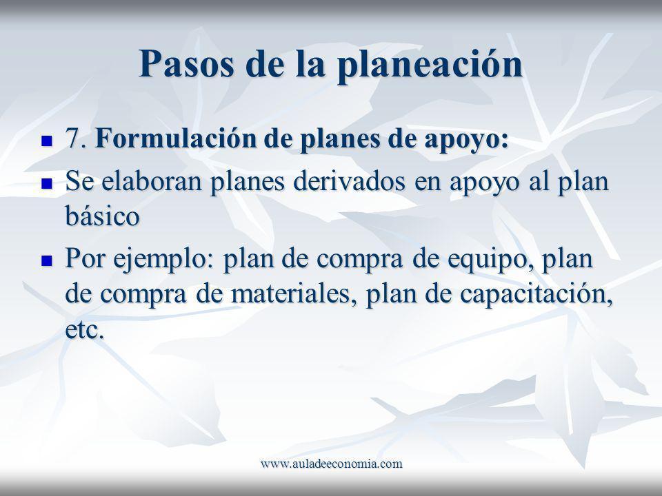 Pasos de la planeación 7. Formulación de planes de apoyo: