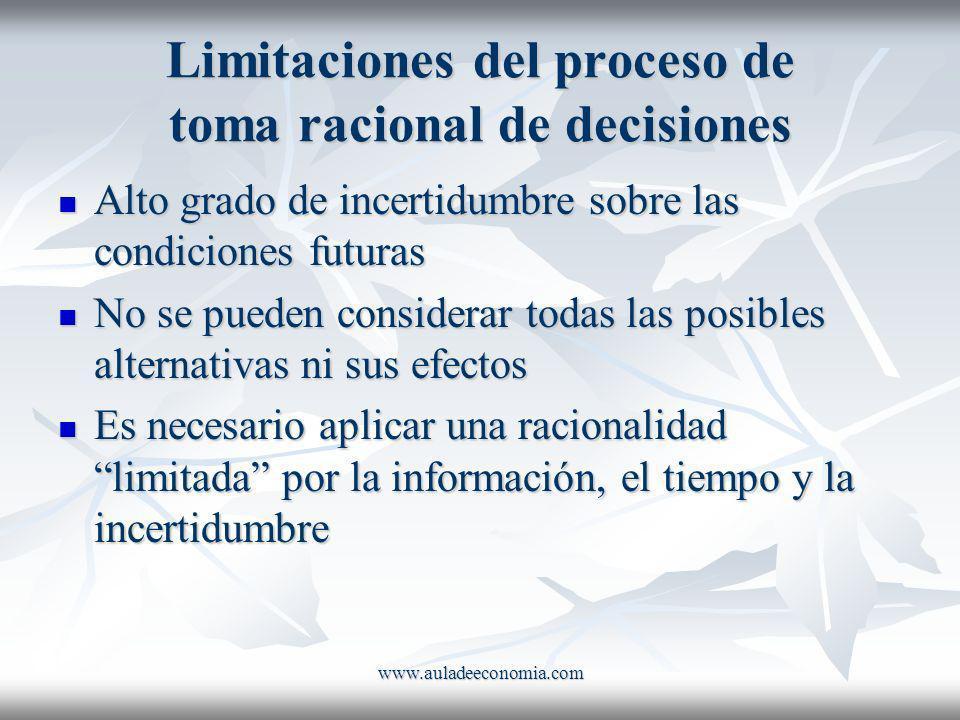 Limitaciones del proceso de toma racional de decisiones