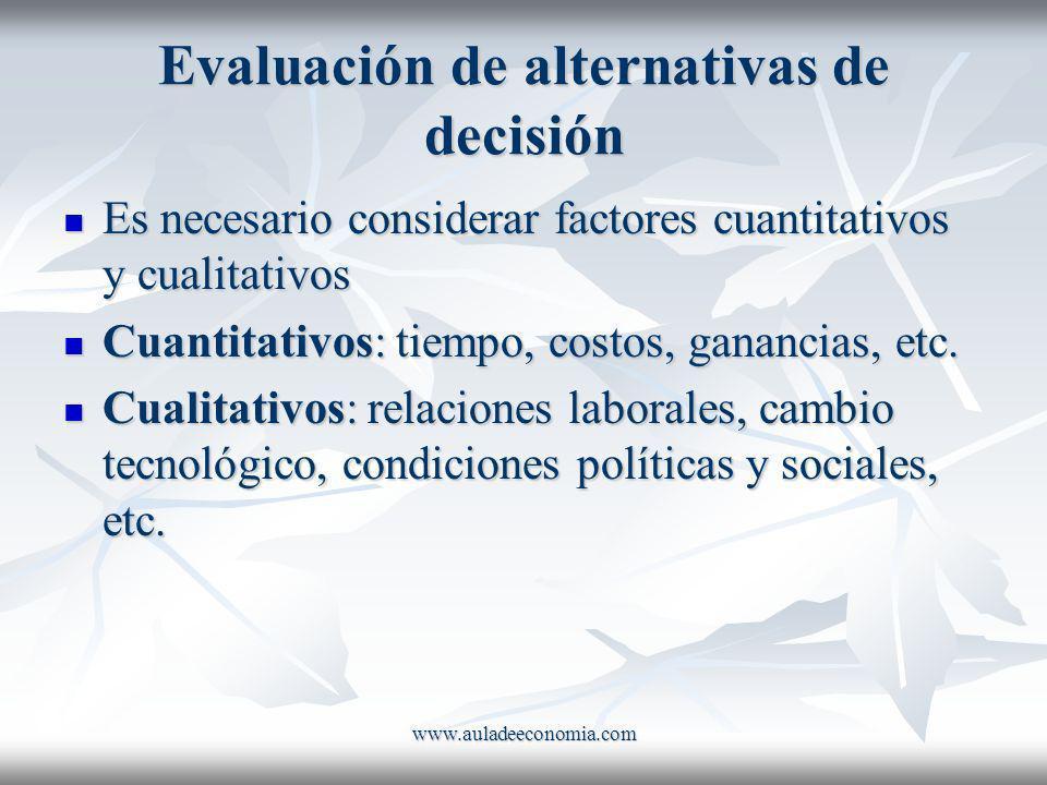 Evaluación de alternativas de decisión