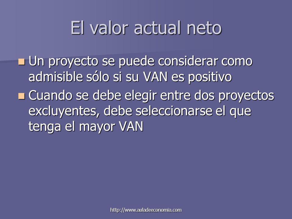 El valor actual neto Un proyecto se puede considerar como admisible sólo si su VAN es positivo.
