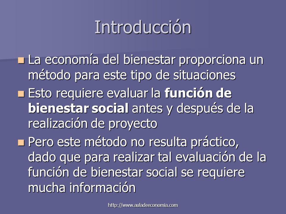 Introducción La economía del bienestar proporciona un método para este tipo de situaciones.