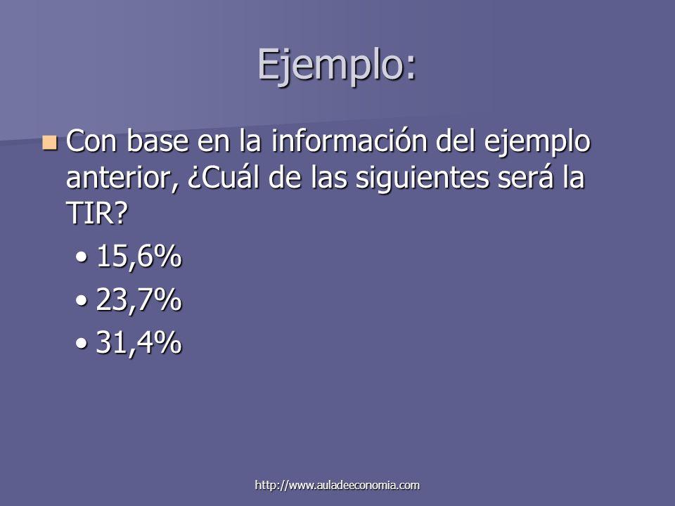 Ejemplo: Con base en la información del ejemplo anterior, ¿Cuál de las siguientes será la TIR 15,6%