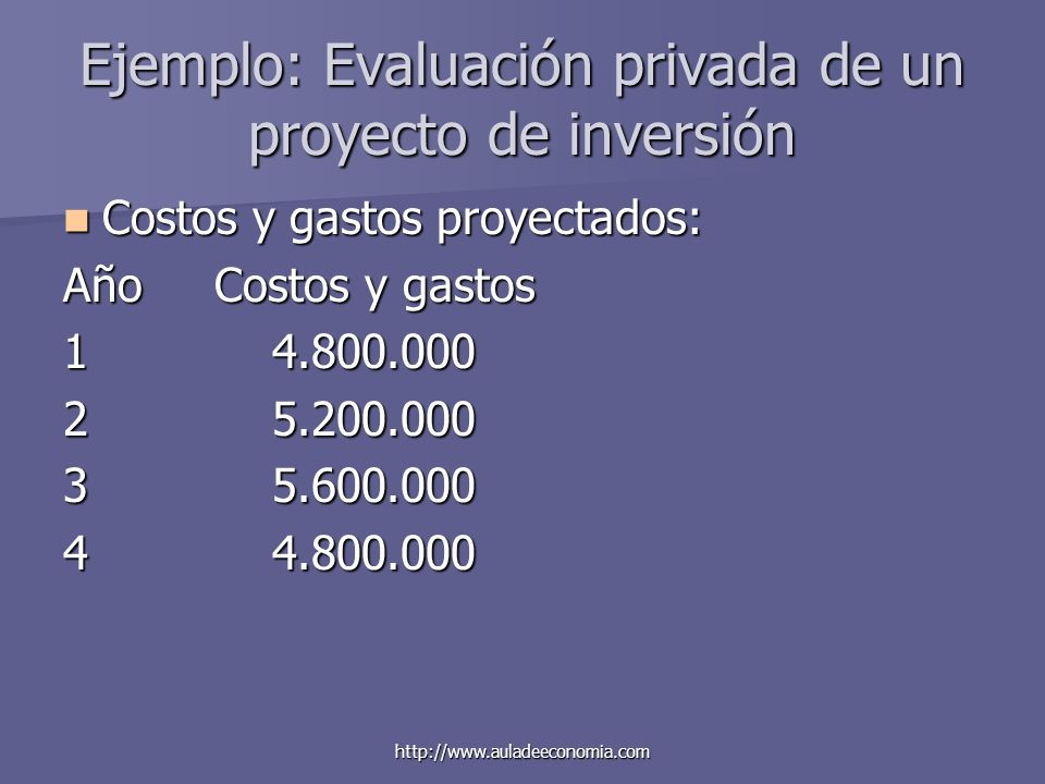 Ejemplo: Evaluación privada de un proyecto de inversión