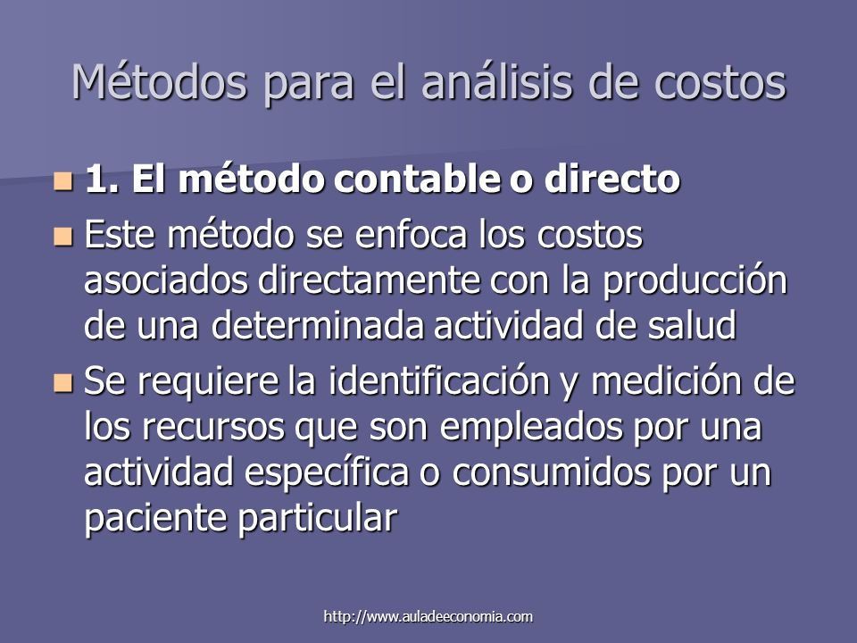Métodos para el análisis de costos