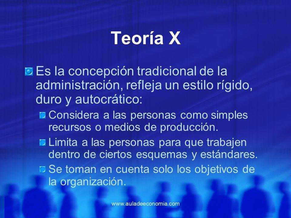 Teoría X Es la concepción tradicional de la administración, refleja un estilo rígido, duro y autocrático: