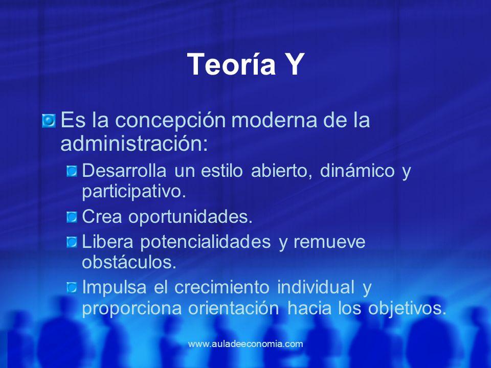 Teoría Y Es la concepción moderna de la administración: