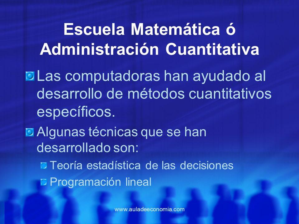 Escuela Matemática ó Administración Cuantitativa