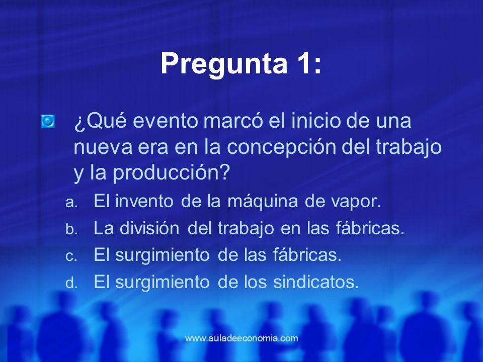 Pregunta 1: ¿Qué evento marcó el inicio de una nueva era en la concepción del trabajo y la producción