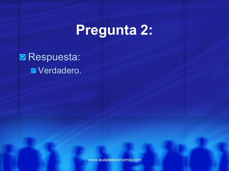 Pregunta 2: Respuesta: Verdadero. www.auladeeconomia.com