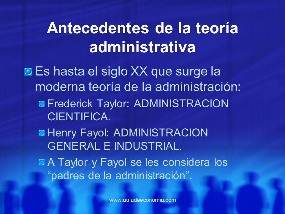 Antecedentes de la teoría administrativa