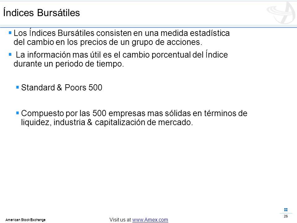 Índices Bursátiles Los Índices Bursátiles consisten en una medida estadística del cambio en los precios de un grupo de acciones.