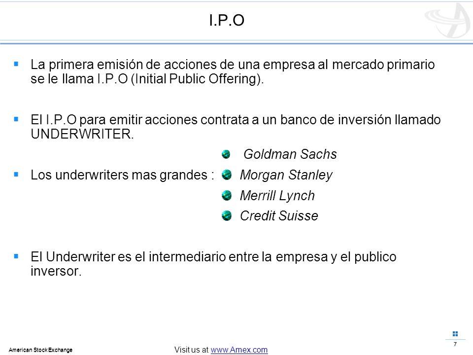 I.P.OLa primera emisión de acciones de una empresa al mercado primario se le llama I.P.O (Initial Public Offering).
