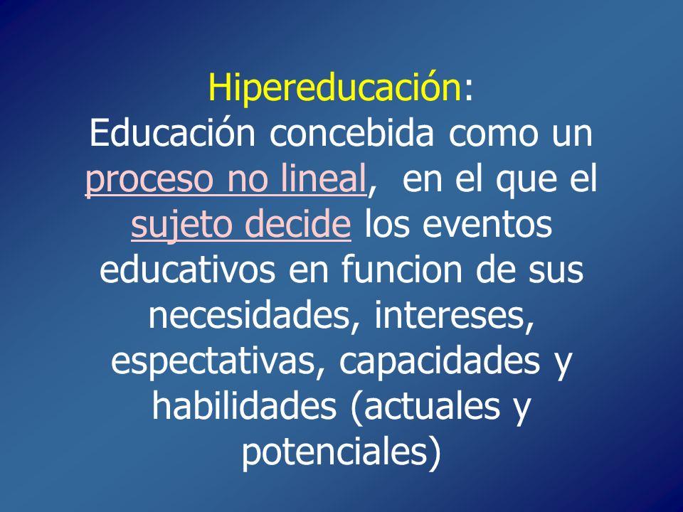 Hipereducación: Educación concebida como un proceso no lineal, en el que el sujeto decide los eventos educativos en funcion de sus necesidades, intereses, espectativas, capacidades y habilidades (actuales y potenciales)