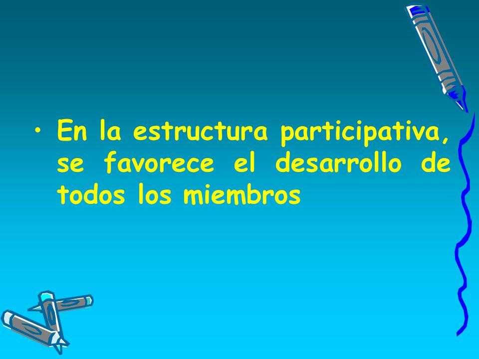 En la estructura participativa, se favorece el desarrollo de todos los miembros