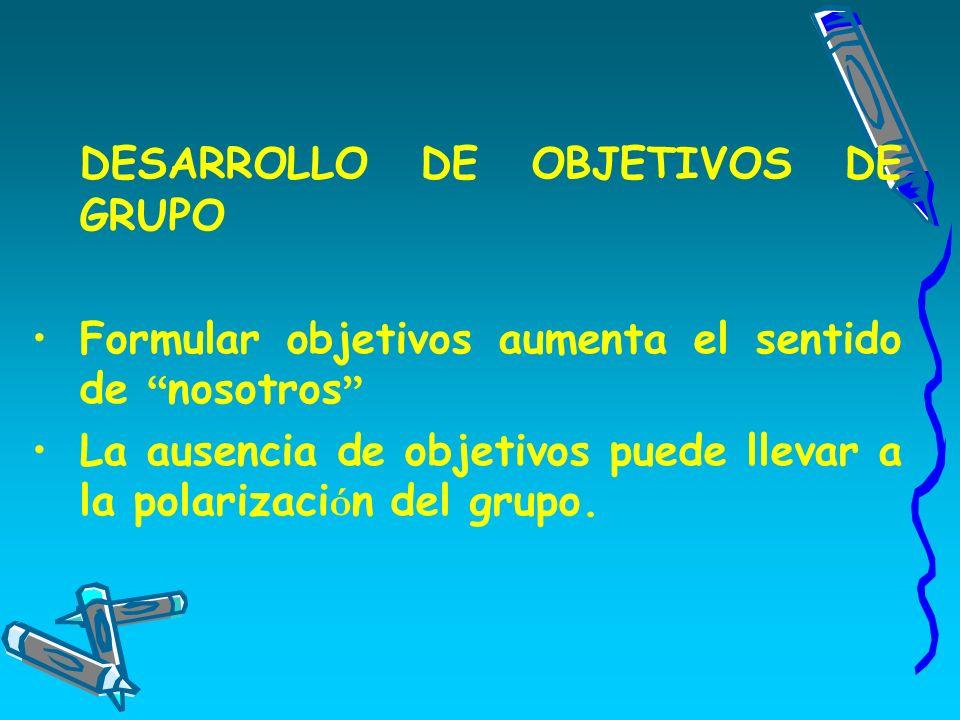 DESARROLLO DE OBJETIVOS DE GRUPO