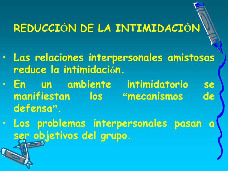 REDUCCIÓN DE LA INTIMIDACIÓN