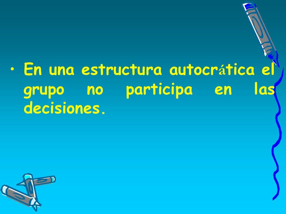 En una estructura autocrática el grupo no participa en las decisiones.