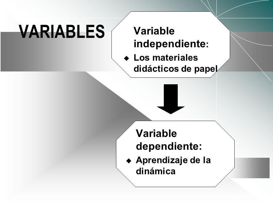 VARIABLES Variable independiente: Variable dependiente: