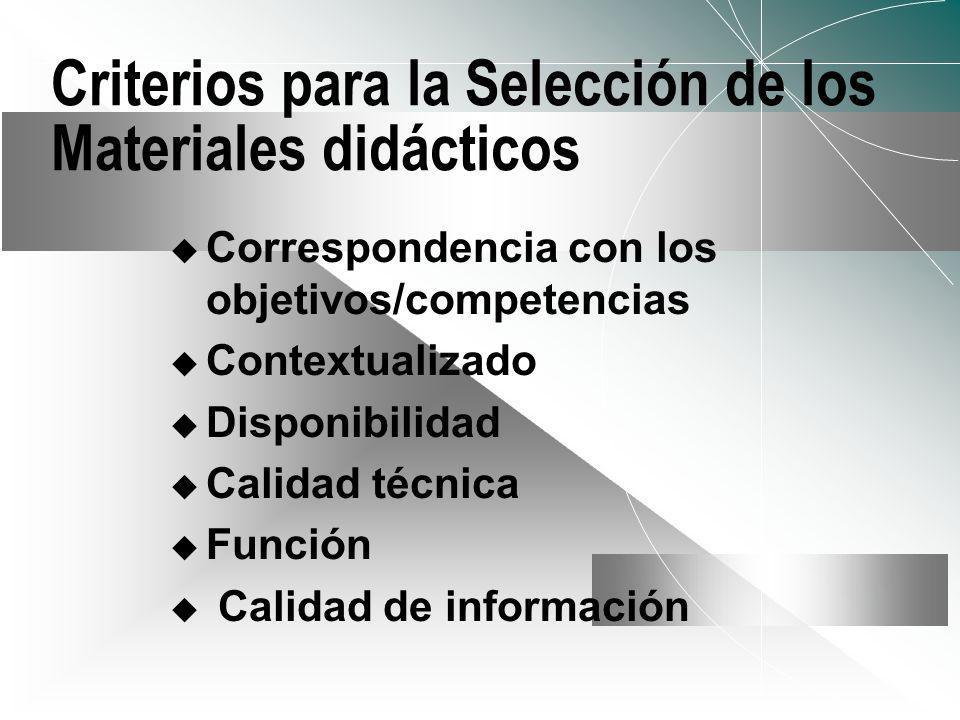 Criterios para la Selección de los Materiales didácticos