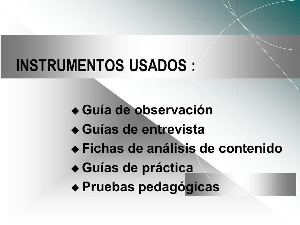 INSTRUMENTOS USADOS : Guía de observación Guías de entrevista