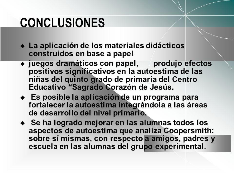 CONCLUSIONES La aplicación de los materiales didácticos construidos en base a papel.