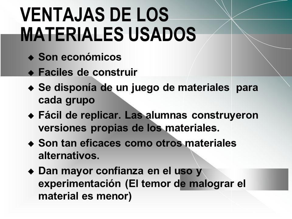 VENTAJAS DE LOS MATERIALES USADOS