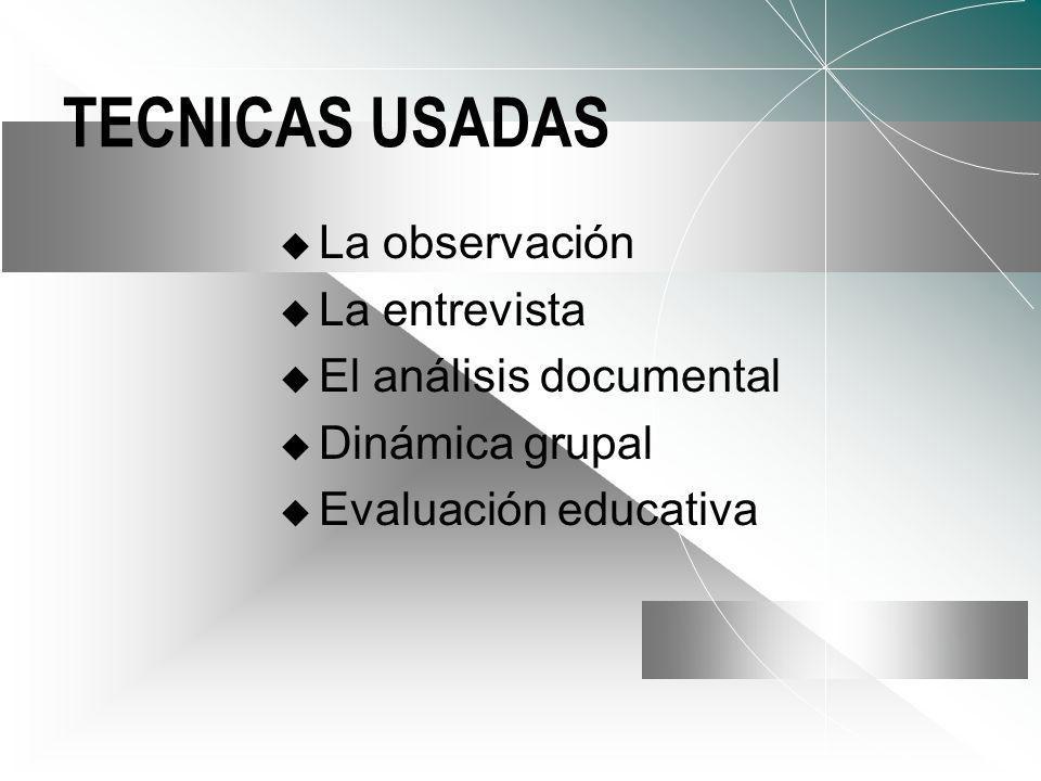 TECNICAS USADAS La observación La entrevista El análisis documental