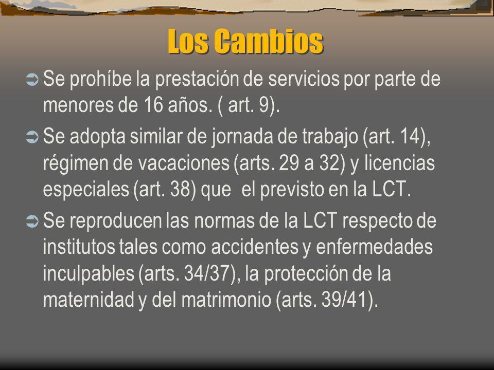 Los Cambios Se prohíbe la prestación de servicios por parte de menores de 16 años. ( art. 9).