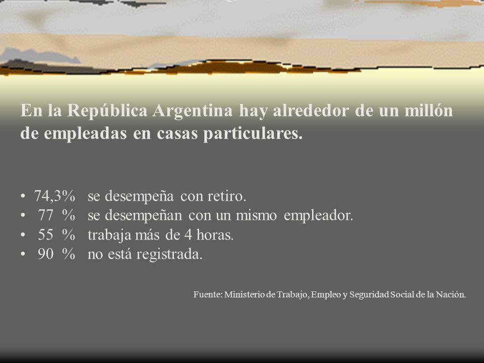 En la República Argentina hay alrededor de un millón de empleadas en casas particulares.