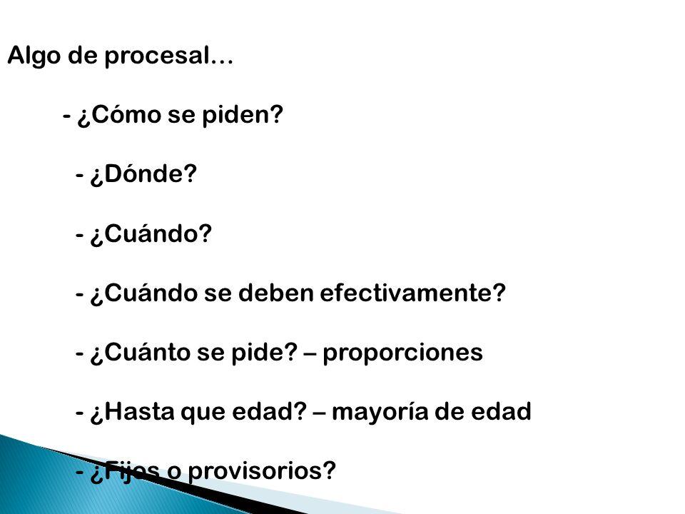 Algo de procesal… - ¿Cómo se piden - ¿Dónde - ¿Cuándo - ¿Cuándo se deben efectivamente - ¿Cuánto se pide – proporciones.