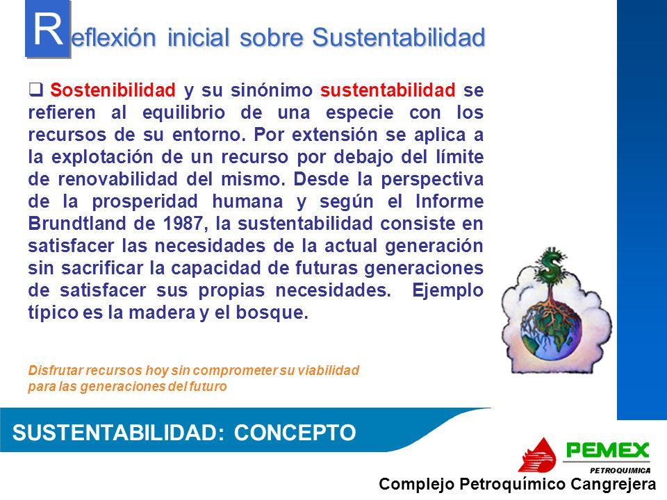 R eflexión inicial sobre Sustentabilidad SUSTENTABILIDAD: CONCEPTO