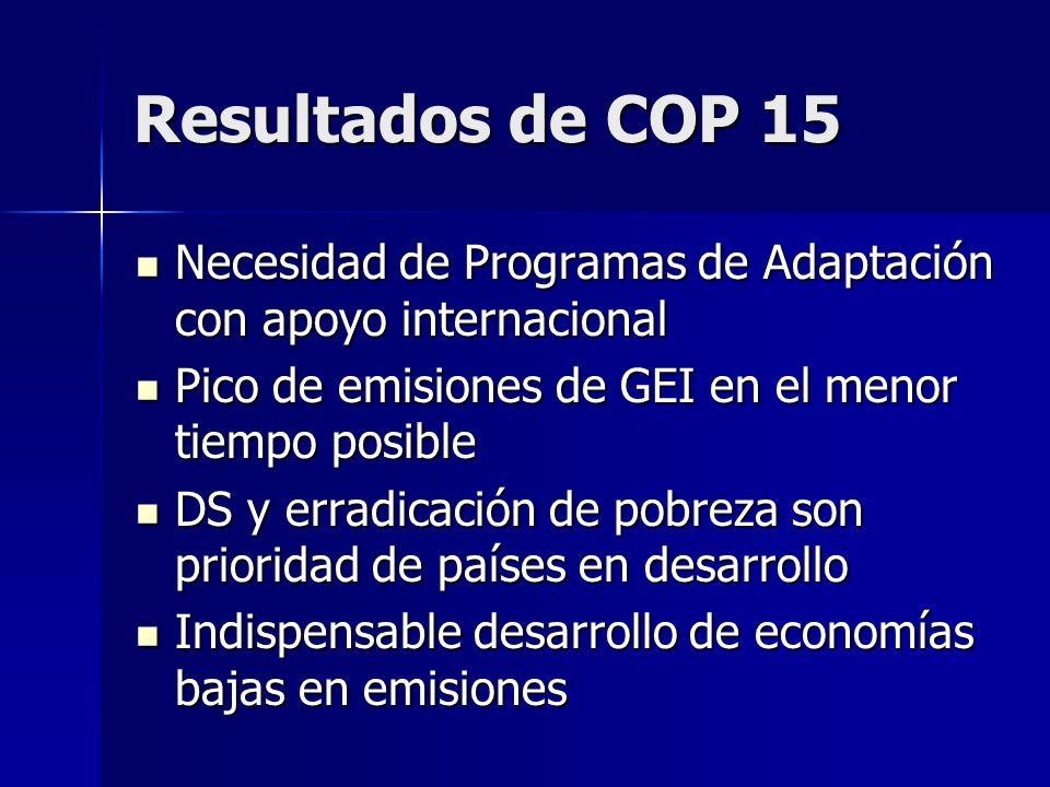 Resultados de COP 15 Necesidad de Programas de Adaptación con apoyo internacional. Pico de emisiones de GEI en el menor tiempo posible.