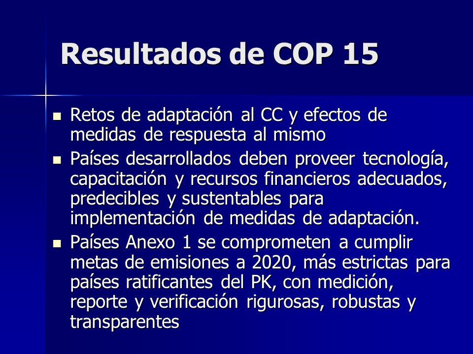 Resultados de COP 15Retos de adaptación al CC y efectos de medidas de respuesta al mismo.