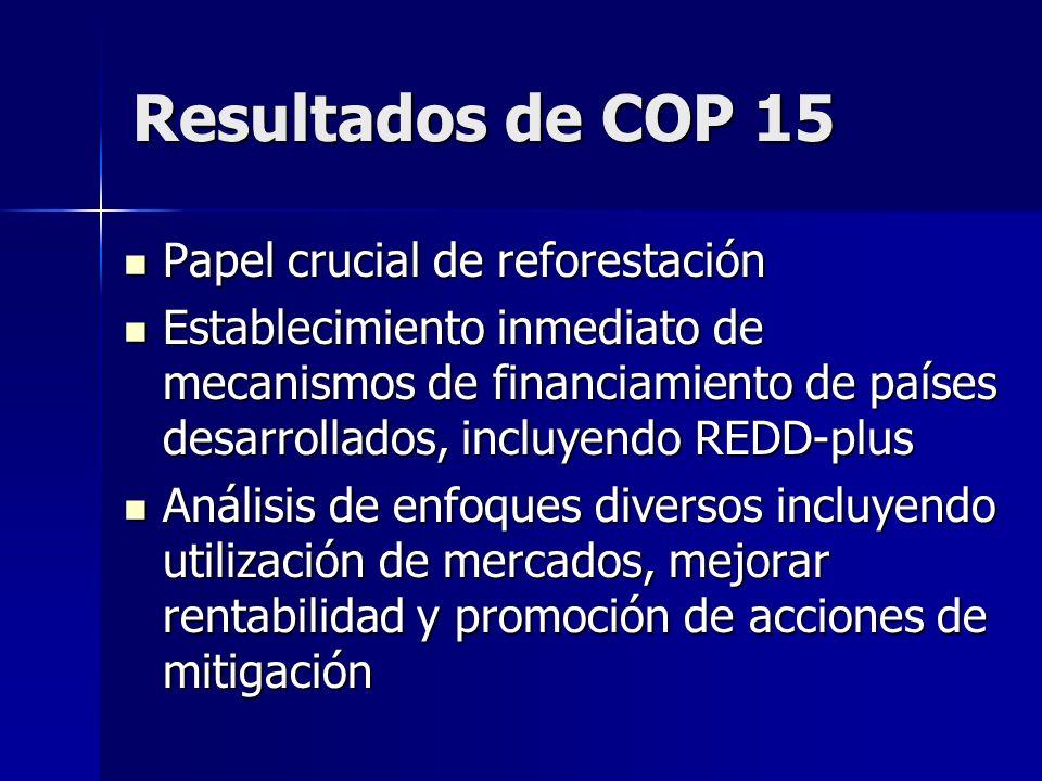 Resultados de COP 15 Papel crucial de reforestación