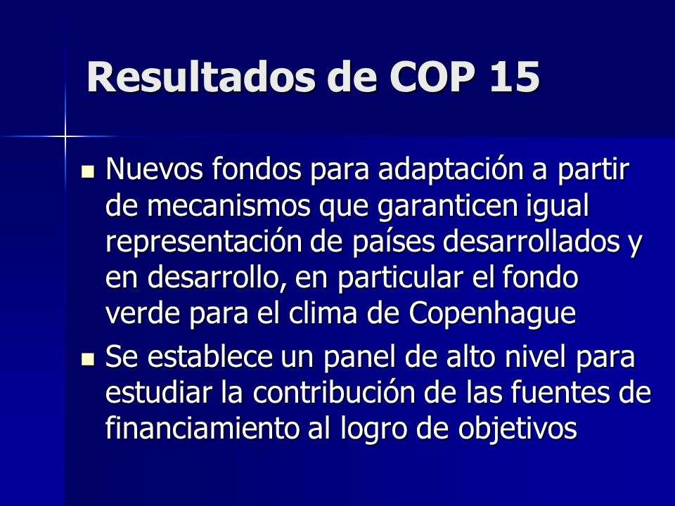 Resultados de COP 15